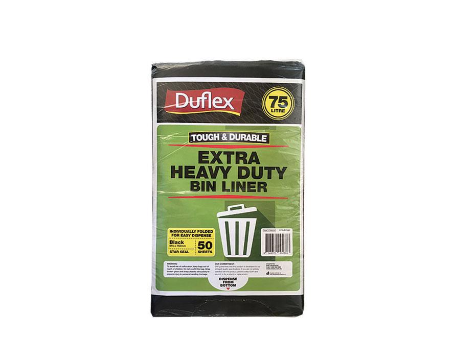 DFEHD75BF-Duflex-Extra-Heavy-Duty-Bin-Liner-75L-50's-Black-Flat